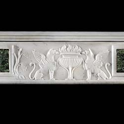 Antique Verde Antico and White Marble Neo Classical Chimneypiece