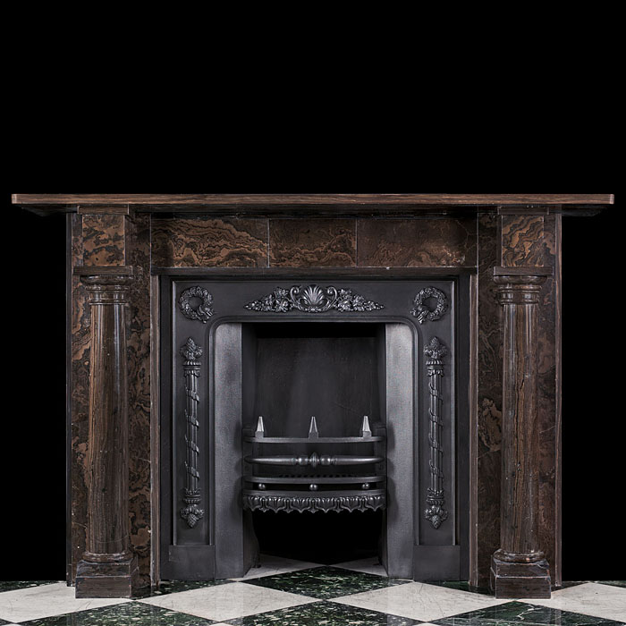 An Antique Regency full round columned chimneypiece