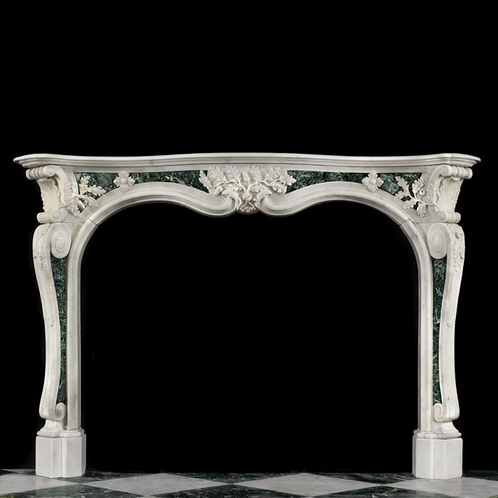 Rare Antique Mid Georgian Rococo Stauary & Maurin Green Marble Fireplace Circa 1750