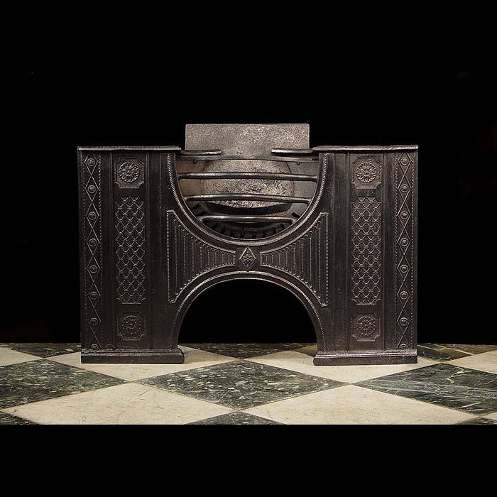 Antique Hob Grate from the 18th century with decorated side panels
