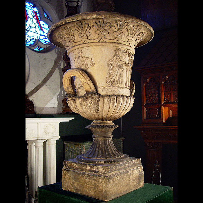 11022: A large Neo Classical Terracota Campana Urn, possibly by Blashfield, decorated in the Greek Revival manner after Bertel Thorvaldsen and Thomas Hope. Frieze features under the anthemion motif beneath t