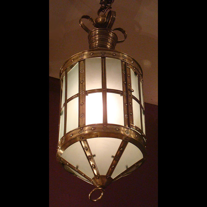 Antique Arts and Crafts Hall Lantern in Burnished Copper