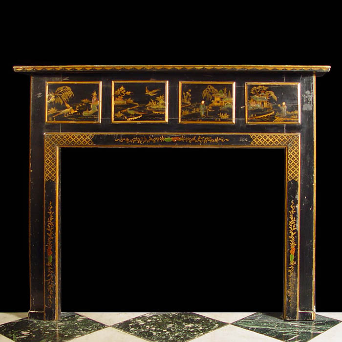 An Antique Lacquered Chinoiserie style Chimneypiece Mantel