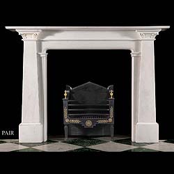One of a Pair of Rare Antique Egyptian Revival Statuary Marble Fireplace Surrounds
