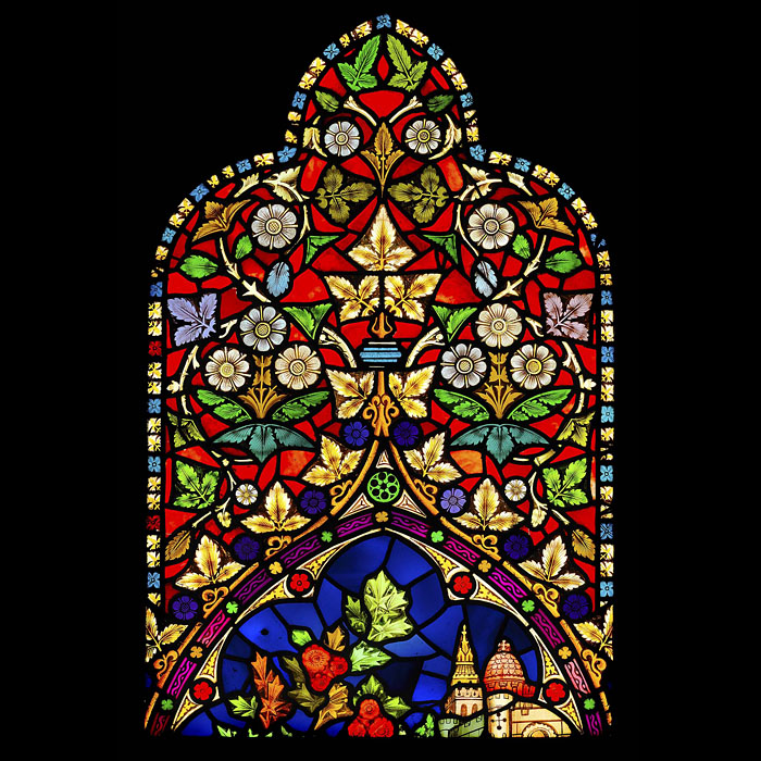 Antique Victorian Floral Stained Glass Panel
