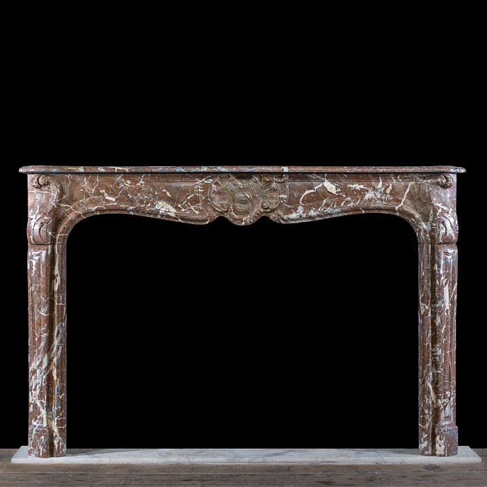 Antique Rouge de Rance Red Marble Rococo Louis XV Chimneypiece