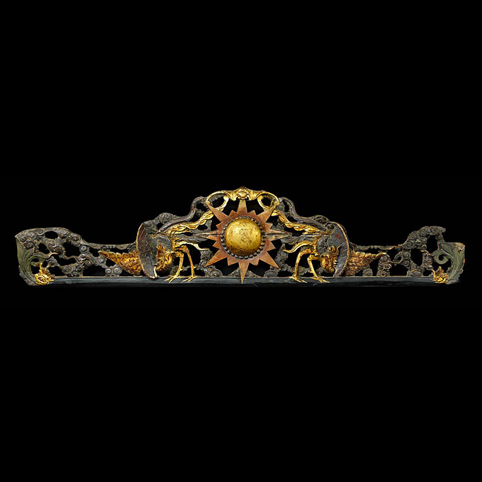 A Baroque Style Carved Wood Phoenix Pediment