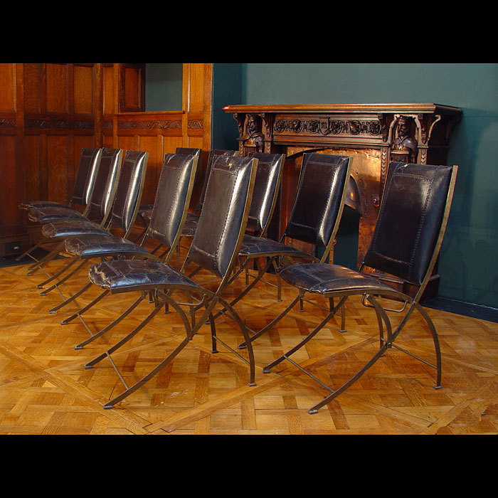An Art Deco set of ten steel and leather dining chairs