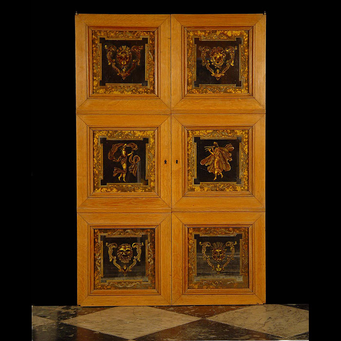 Antique Verre Eglomise Oak Doors with six small panels depicting Masks and Roman style figures