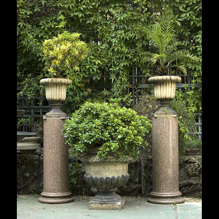 Large Pair of Victorian Pink Granite Columns