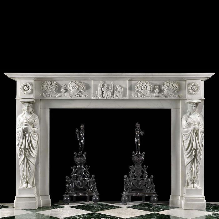 Antique Regency Greek Revival carved Marble Chimneypiece