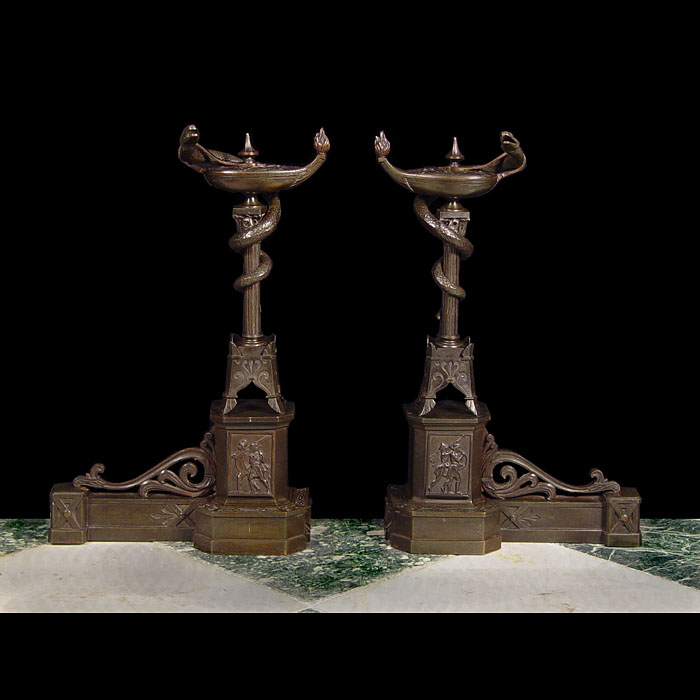 A pair of Antique Greek Revival styled bronze fire dogs