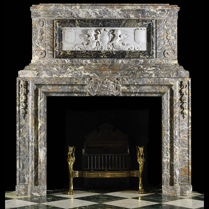 Antique Flemish Baroque Marble Fireplace Mantel