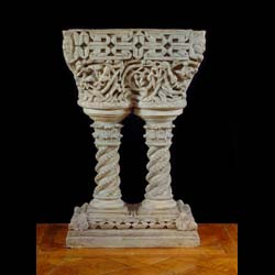 11213: A rare Italian terracotta basin / fountain / jardinere in the Venetian Byzantine manner. Early 18th century. Image before restoration.   Link to: Antique sculptures, carvings, plaques, tablets, coats