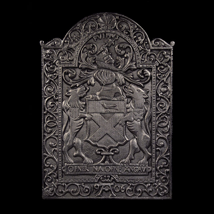 Antique Cast Iron Medieval style Fireback with hunting adornment