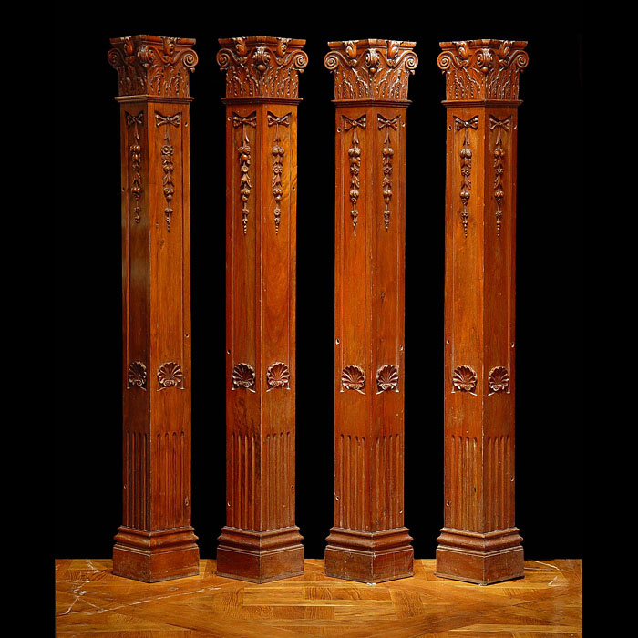 Set of Four Mahogany Corner Pilasters with Shell Motifs