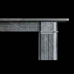 An antique Italian Bardiglio marble Victorian fireplace mantel.
