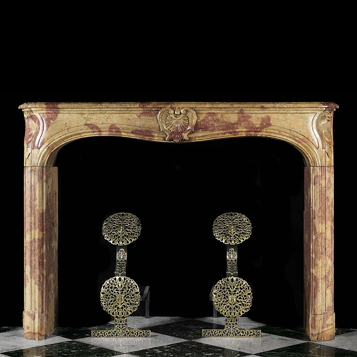 Louis XV Chimneypiece in Burgundy Stone