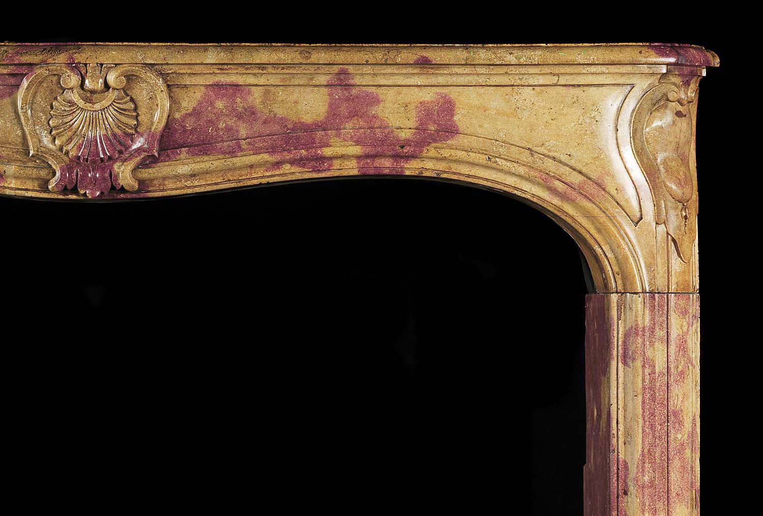 Antique Louis XV Chimneypiece in Burgundy Stone