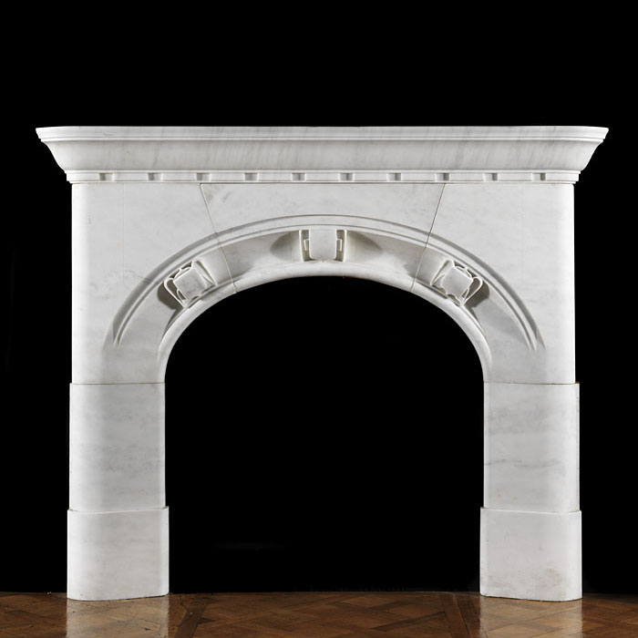 Antique Arts and Crafts white Marble fireplace in Tudor Gothic Revival