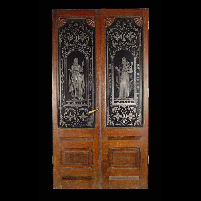 A pair of antique Victorian oak doors