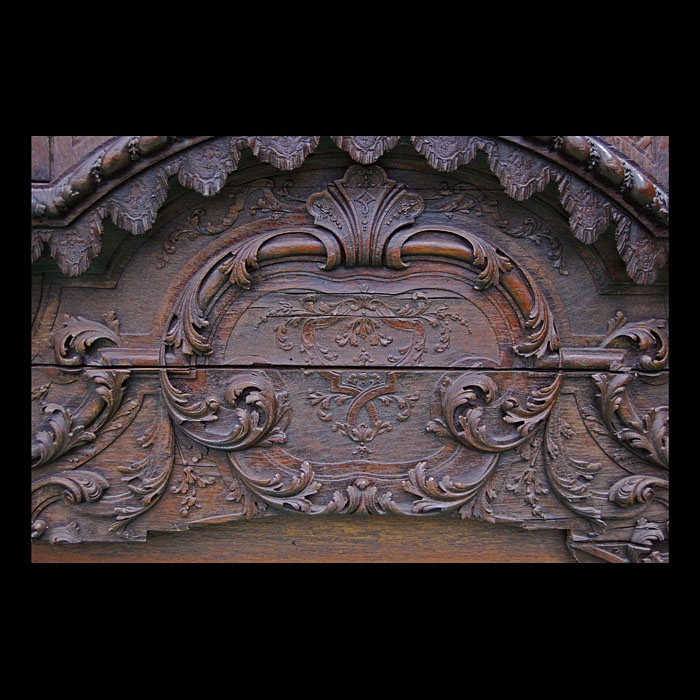 A large ornate and rare antique oak overmantel