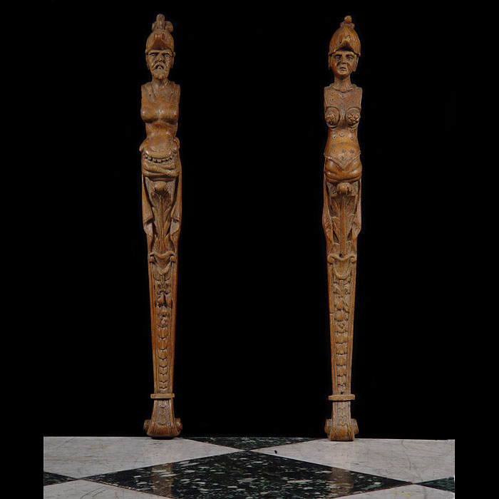 A Pair of Carved Oak Mannerist Terms