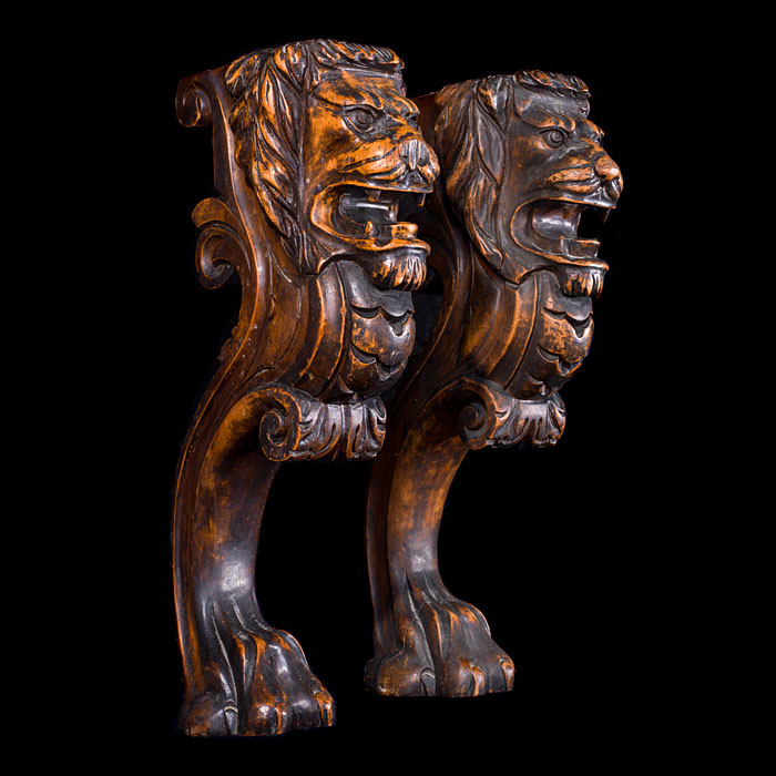 Carved Walnut wood Lion Monopodia Columnns
