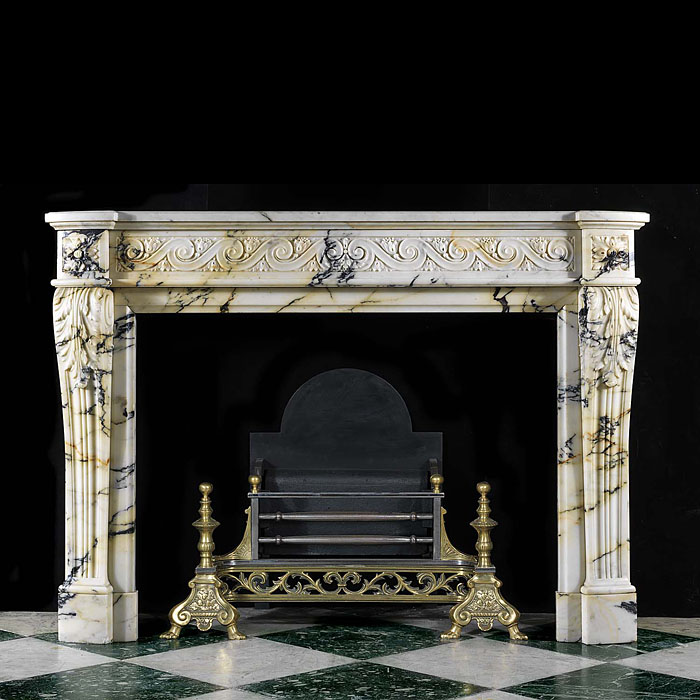 A Louis XVI Pavonazza Marble antique fireplace surround