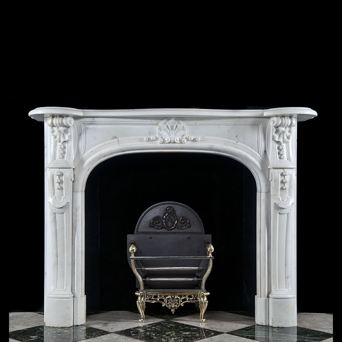 Antique small White Statuary Marble Louis XV Rococo Fireplace Mantle