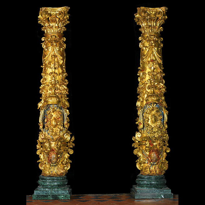 Ornate pair of giltwood Baroque columns