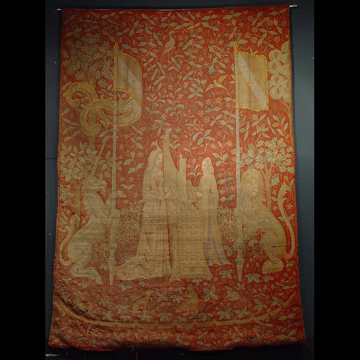 11354 - Antique Flemish Medieval Tapestry depicting The Lady & the Unicorn
