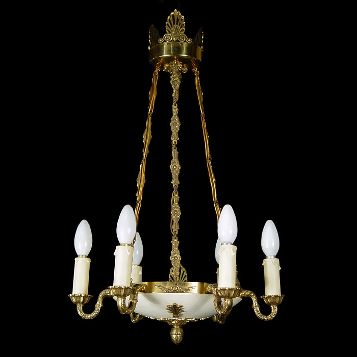 A Louis XVI Style Gilt Bronze Chandelier