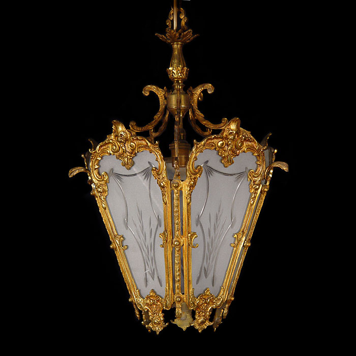 A 20th century Louis XVI style gilt brass lantern