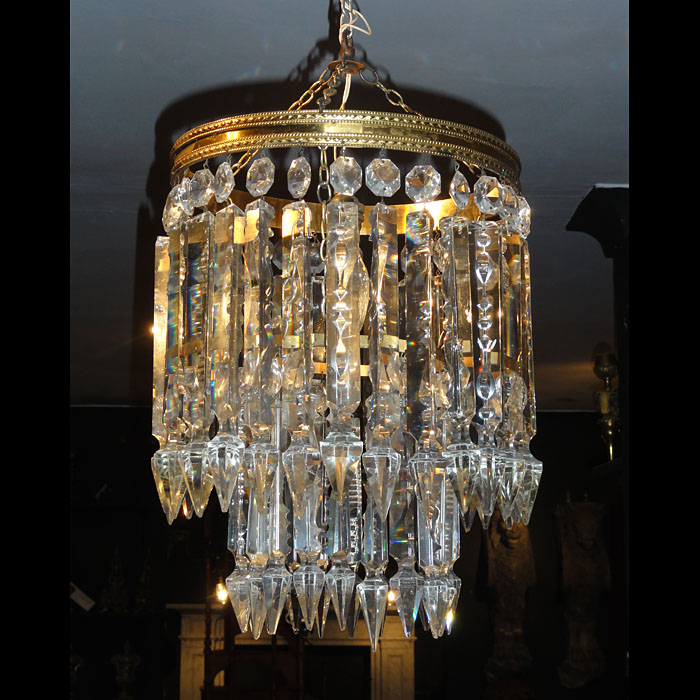 A 20th Century Two Tier Cut Glass Chandelier
