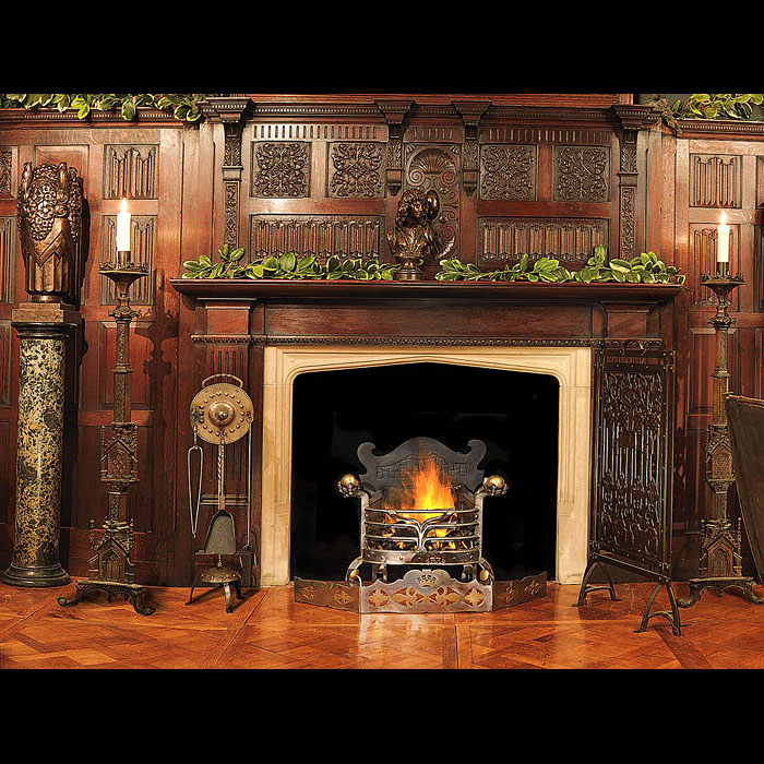 Antique suite of Oak Panelling in Jacobean manner with original Chimneypiece
