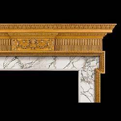 Antique Period Georgian style carved Pine & limewood Chimneypiece