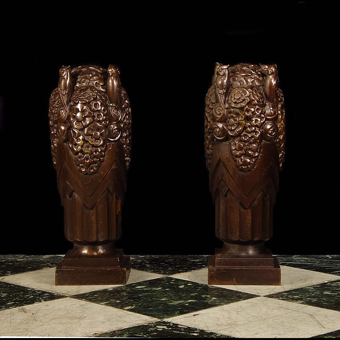 11470 - Art Deco bronze urn finials.