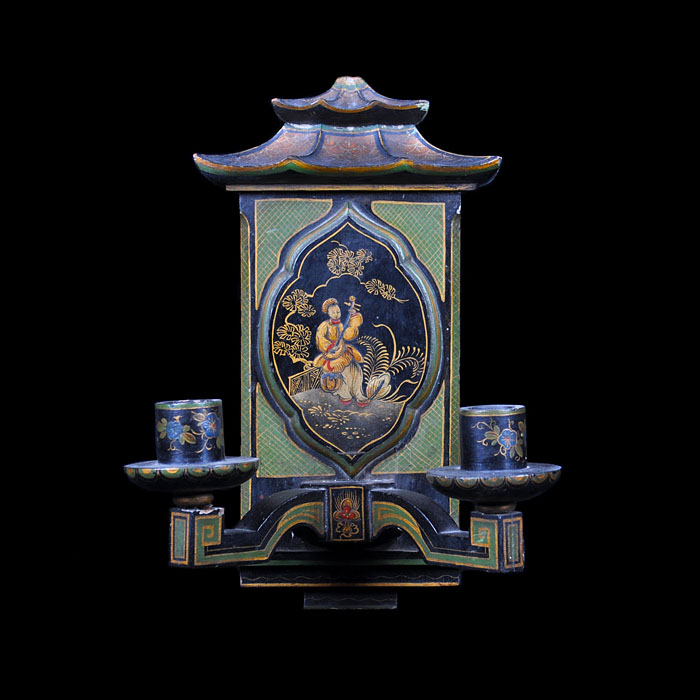 Chinoiserie lacquered single wall light