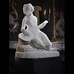 Antique Marble Statue of a Greek Girl with Mandolin and Dog