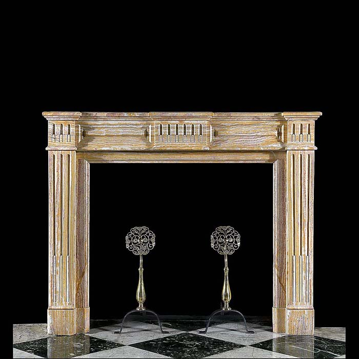 A Louis XVI Onyx Marble Fireplace Surround