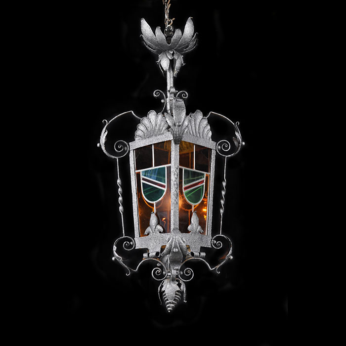 Antique coloured glass Victorian hall lantern
