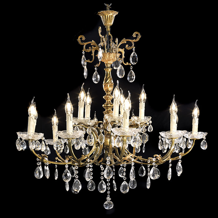 A 20th century cut glass large ten light chandleier
