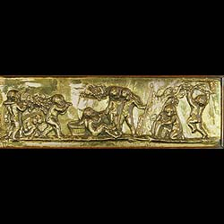 Antique Large Brass Panel depicting Putti in a Bachanalian setting