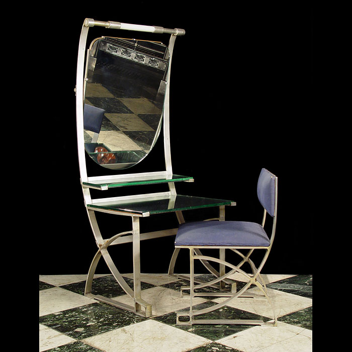 Antique Italian Art Deco Aluminium Table and Chair with Mirror