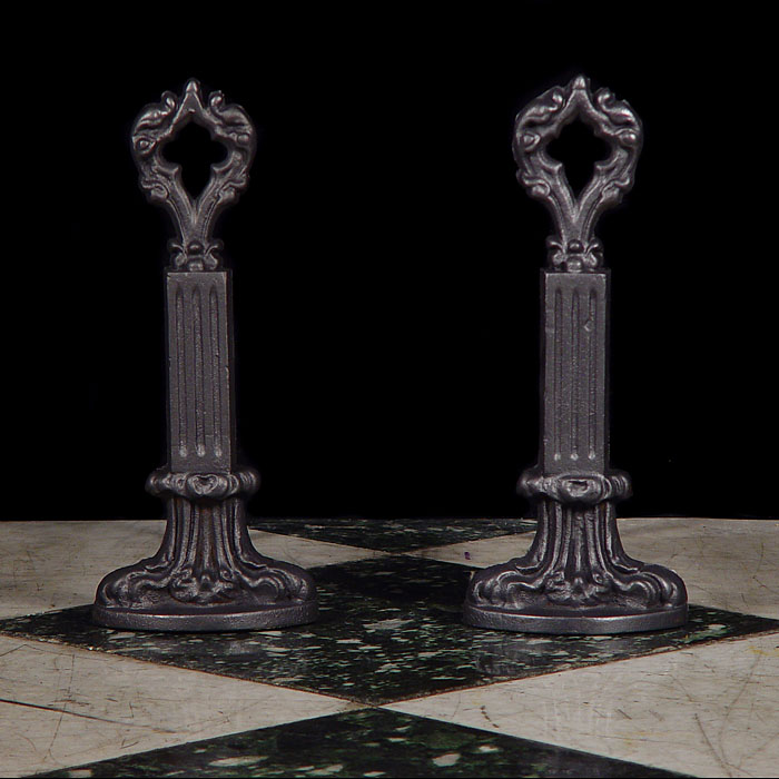 A Pair of Cast Iron Gothic Style Andirons