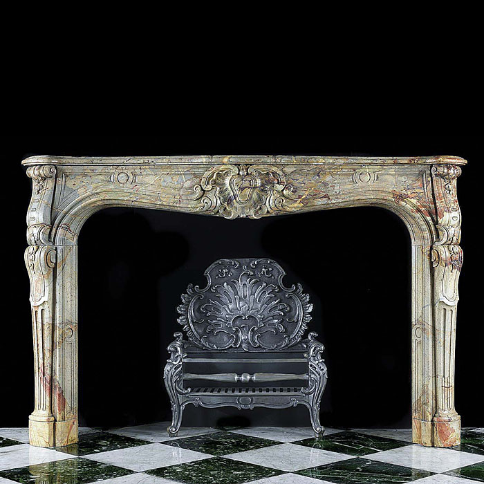 Antique Rococo Louis XV French Marble Fireplace