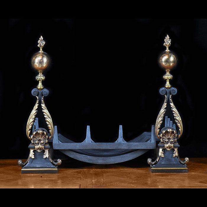 Antique Pair of French Baroque manner Bronze Andirons