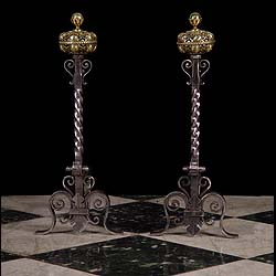 Antique pair andiron firedogs iron & brass.
