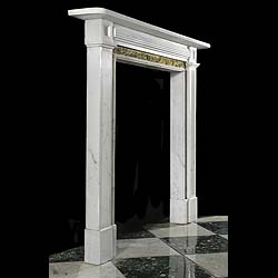 Antique Regency white Statuary Marble fireplace with Convent Sienna ingrounds